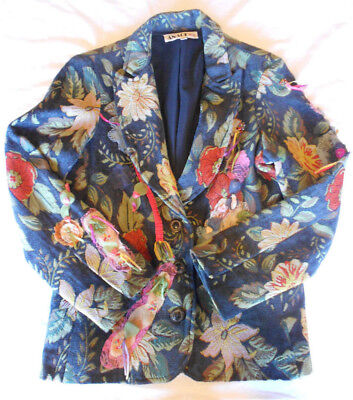 Vintage 90s Floral Tapestry Lace Sequined Jacket Blazer Tacky Ugly Christmas L