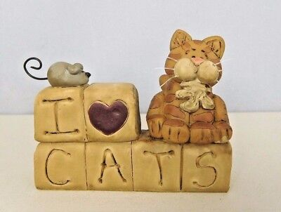 I love cats - New resin block with a small mouse - Blossom Bucket #26762