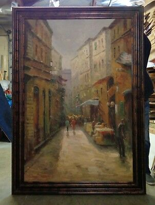 Extra Large Parisian Alley Oil Painting in Bronze Finish Wood Molding Frame