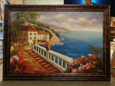 Extra Large Italian Ocean Coast Oil Painting in Bronze Finish Wood Molding Frame