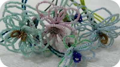 Lot Vintage French Hand Made Beaded Glass Seed Beads Flowers Bouquet