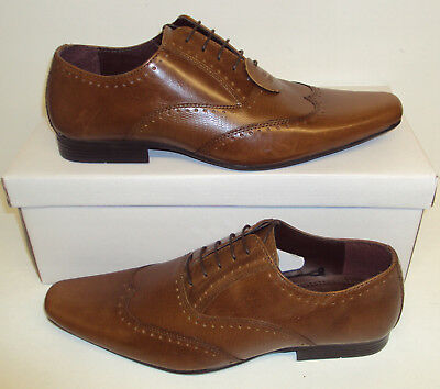 New Men's Tan LEATHER Lace Up Brogues Formal Smart Wedding Shoes Size UK 10 & 11