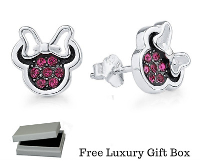 8fd749147 925 Silver sterling dazzling Disney minnie mouse bow sparkling studs + gift  box