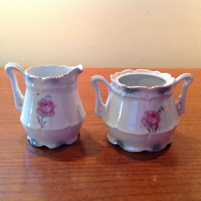 Vintage Porcelain Sugar and Creamer pink Cabbage Rose Pattern hand painted