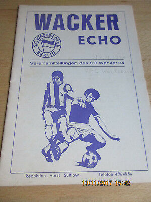 Programm Wacker 04 Berlin : VfL Wolfsburg - 17. April 1977
