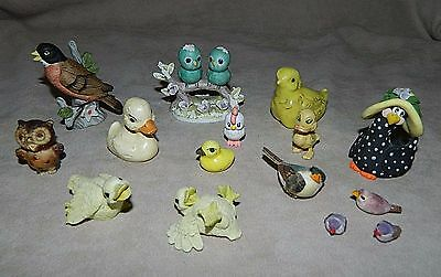 Vintage? Lot of 15 Mini/Miniature Birds-Ducks-Chickens-Robin-Owl-Cute Figurines