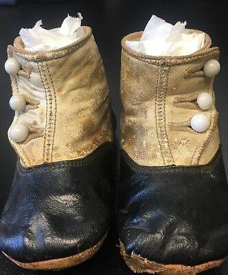 2 Pairs! Victorian Antique High Top Button Childrens Baby Pair Shoes Leather