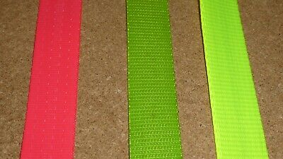 25mm wide Polyester Webbing Hi Vis Fluorescent Yellow 1,2,10,50 or 100 metres
