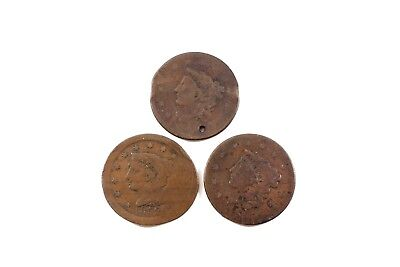 Three  United States  Large Cents  Poor / Damaged Circulated Condition