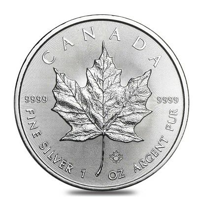 2018 1 oz Silver Canadian Maple Leaf .9999 Fine $5 Coin BU In Cap