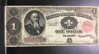 1891 $1 One Dollar Treasury Note Stanton Fr 352 US Large Size Currency