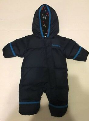 COLUMBIA Down Bunting Snowsuit, Infant 0-3 months Navy Fleece lined