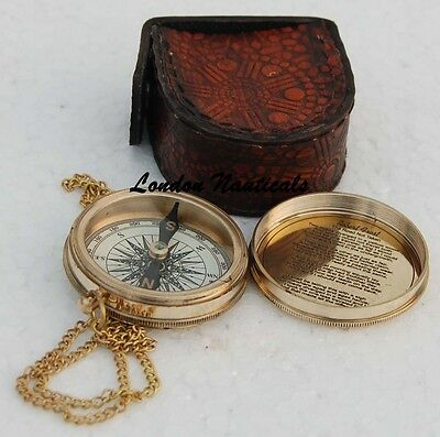 Vintage Collectible Poem Pocket Compass With Robert Frost Poem Inside W/CASE