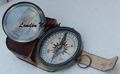 Antique Pocket Compass Brass Compass Flat Compass W/leather Case Fully Functiona