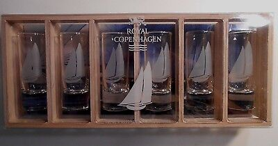 Royal Copenhagen Set of 6 Decorated Cordial Glasses Sailboats Shot Glasses NEW