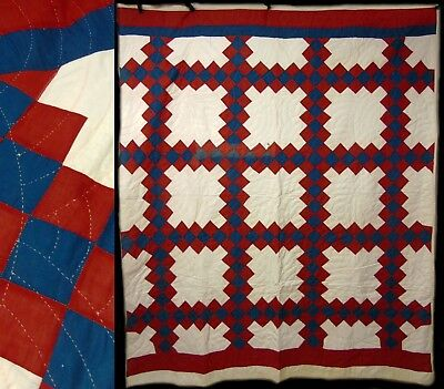 Antique/Vintage Hand Stitched Blue & Red Irish Chain Quilt Bed Spread Coverlet