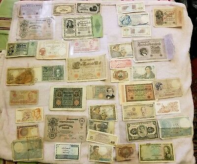 Vintage Foreign Paper Money Notes Lot 40 Notes Total CIRCULATED Most Mid 1900s