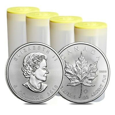 Lot of 100 - 2018 1 oz Silver Canadian Maple Leaf $5 Coin BU (4 Roll,Tube of 25)