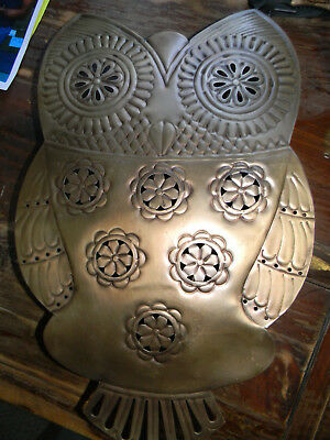 Brass Metal Lighted Owl Sculpture Electric Wall Light Lamp Large ornate