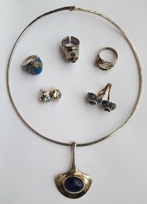 sterling silver scrap lot earrings necklace ring 95 grams scrap or resell