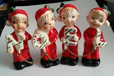 Rare Vintage NOEL Boys Girls Carolers Old Christmas Made Japan Chained Together