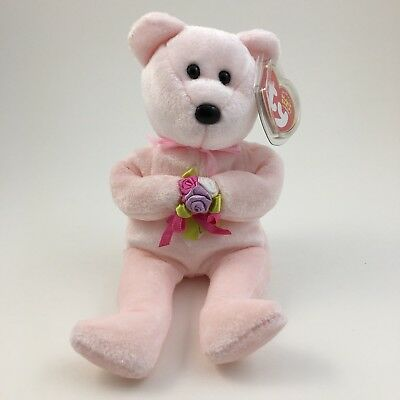 """TY BEANIE BABIES  """"DEAR""""  RETIRED MINT WITH TAGS pink bear"""