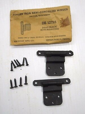 Qty 2 Pair Vintage NOS McKinney Forged Iron Semi Concealed Hinges DB12728 Black