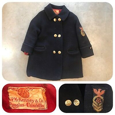 Vtg 30s 40s Youth Pea Coat Military Jacket Patch Nautical Gold Button Work Chore