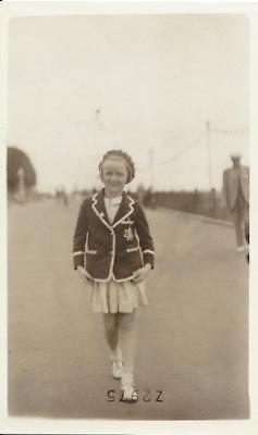 Margate - Little Girl In School Blazer & Beret Hat Vintae Real Photo Postcard
