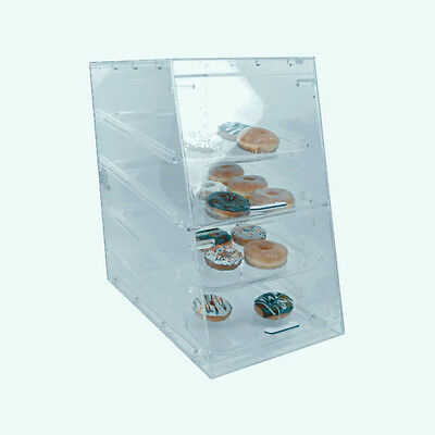 "TALL Clear Acrylic Pastry Donut Bakery 4 Tray Display Case 24"" H x 24"" D x 14"" L"
