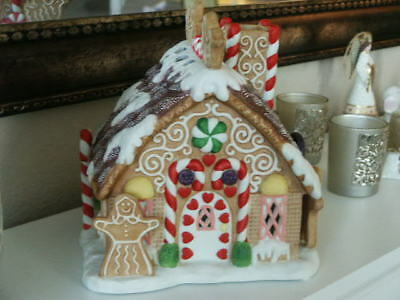 Partylite Christmas Gingerbread Tealight House Candle Holder Candy Cane Lollipop