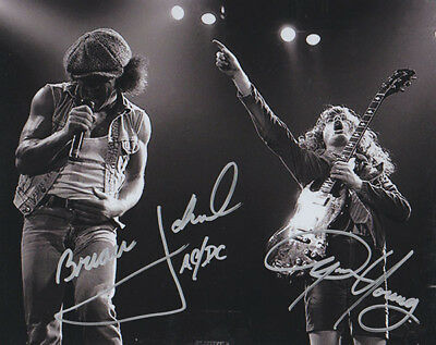 ANGUS YOUNG - BRIAN JOHNSON - AC/DC - SILVER Autographed 8 x 10 Photo with COA