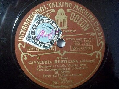"M. SENS ""O de beautes egales / O Lola blanche fleur"" Odeon TalkingMachine 78rpm"