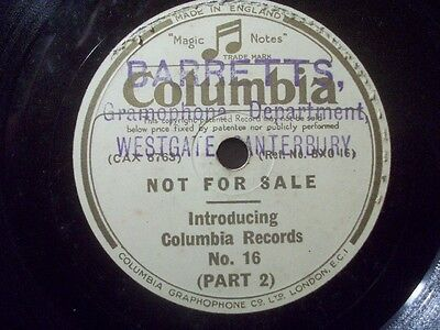 "INDRODUCTING COLUMBIA RECORDS - Part I & II - 78rpm 12"" sample record"