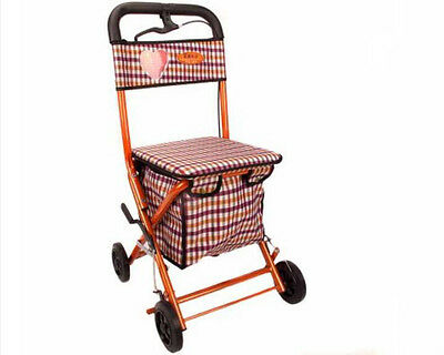 Orange Red 4 Wheels Convenient Foldable Shopping Luggage Trolleys With Seat *