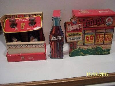 2 Wendy's 25Th Anniversary Coca Cola Bottle In Display Case W/pin