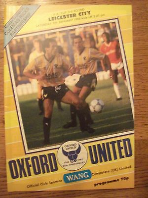Football Programme: Oxford United v Leicester City - FA Cup - January 1988
