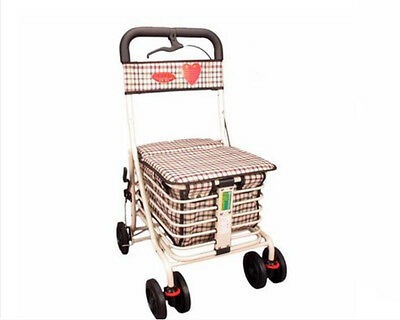 White 6 Wheels Convenient Foldable Shopping Luggage Trolleys With Seat *