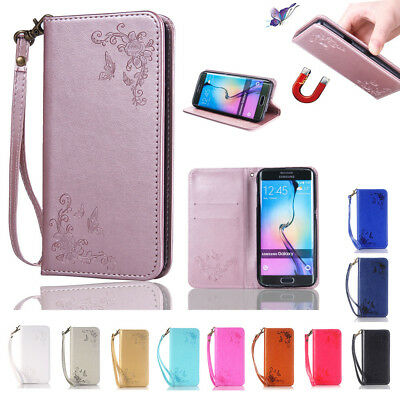Magnetic Butterfly Leather Flip Wallet Card Case Cover Stand For Samsung phones