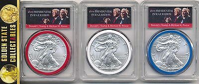 2017 Silver Eagle 3 Coin Set Pcgs Ms70 Fs Rwb Trump& Pence Label 1/5000 Pop.