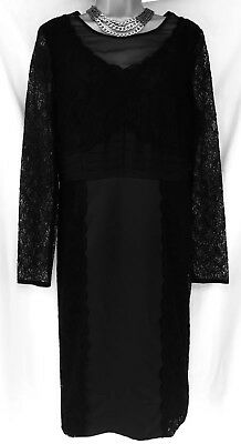 Per Una Speziale Black Lace And Satin Evening Party Dress Size 12 Immaculate