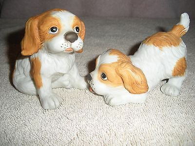 """Homco #1407 SET OF TWO (COCKER SPANIEL) Puppies-- TITLED- """"RUFF & TUFF"""" LOOK NEW"""