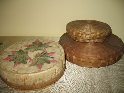 3 Sweet Grass Baskets with Lids Native American Quill Bark