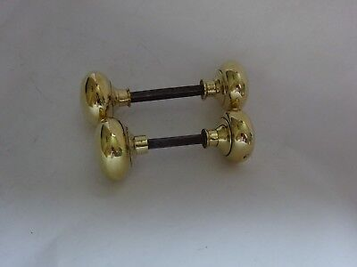 1 Pair Of Vintage Brass Door Knobs Handles Reclaimed 5cm