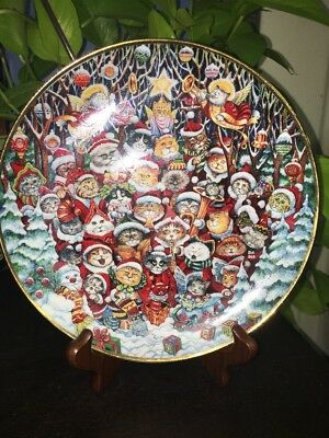 Franklin Mint Santa Claws by Bill Bell Collector Plate Kitty Christmas Cats