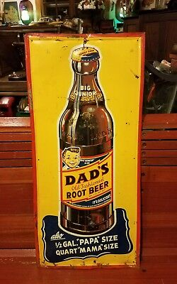 Vintage Dads Root Beer Tall Old Time Bottle Drink Sign Rare Soda Advertising