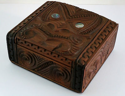 VINTAGE 1930s MAORI TIKI TRINKET BOX INTRICATE CARVED WOOD DESIGN EXCELLENT COND