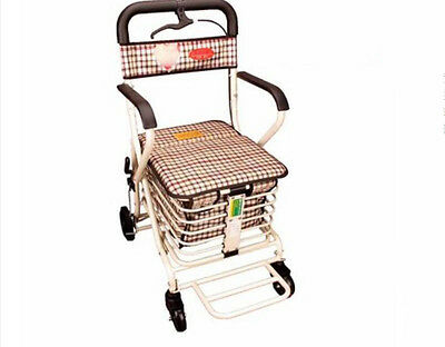 White 4 Wheels Convenient Foldable Shopping Luggage Trolleys With Seat *#