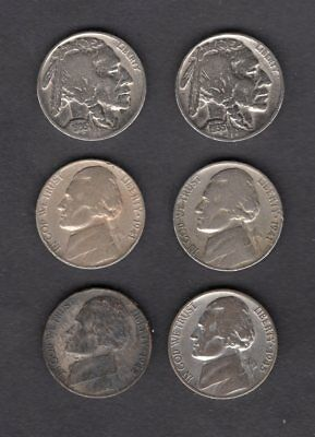 Lot 6 Old Collectible Nickels 2 Indian Buffalo 1935 & 4 Jefferson 1941/1942/1945
