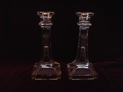Vintage Pair Clear Pressed Glass Candlestick Holders Etched Flower Floral Design